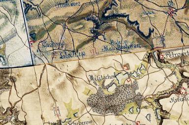 Chodov a Litochleby na mapě 1. vojenského mapování z let 1764 - 1768