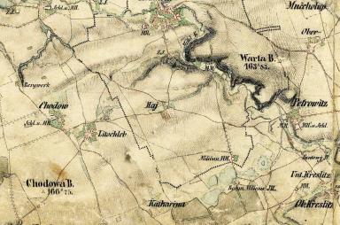 Chodov a Litochleby na mapě 2. vojenského mapování z let 1842 - 1853